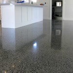 polished concrete kitchen with large exposure